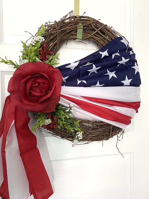 Patriotic Red Rose 4th of July Americana Wreath