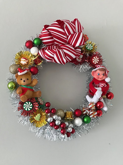 Tinsel Wrapped Vintage Kitsch Christmas Wreath