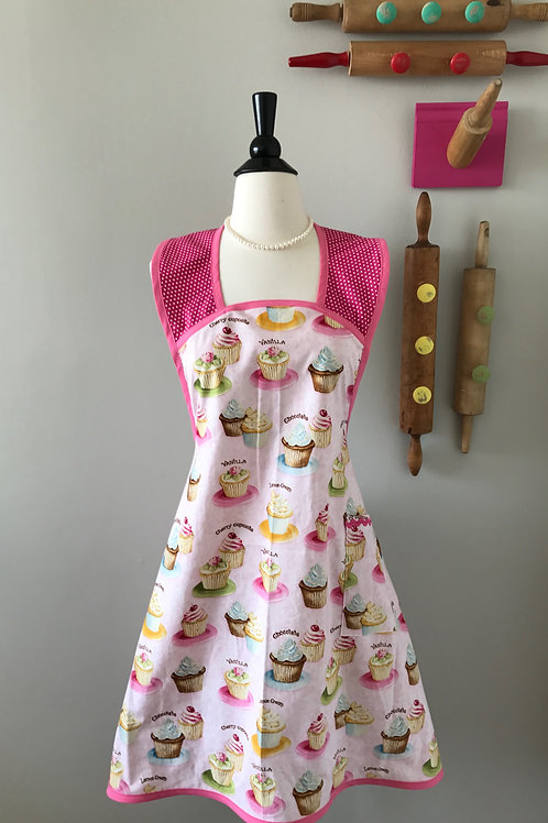 Retro Apron 1940s Style Cupcakes on Pink