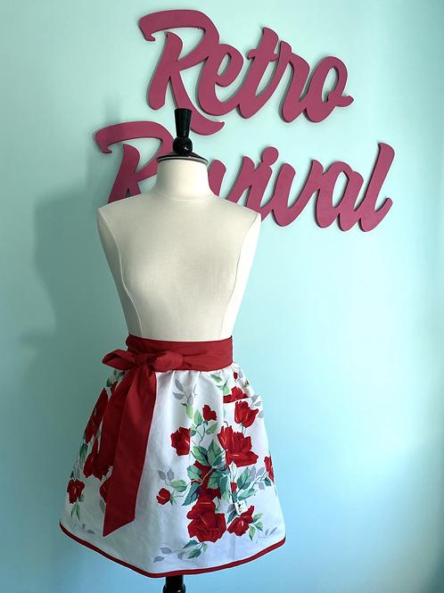 Vintage Red Roses Waist/Half Apron