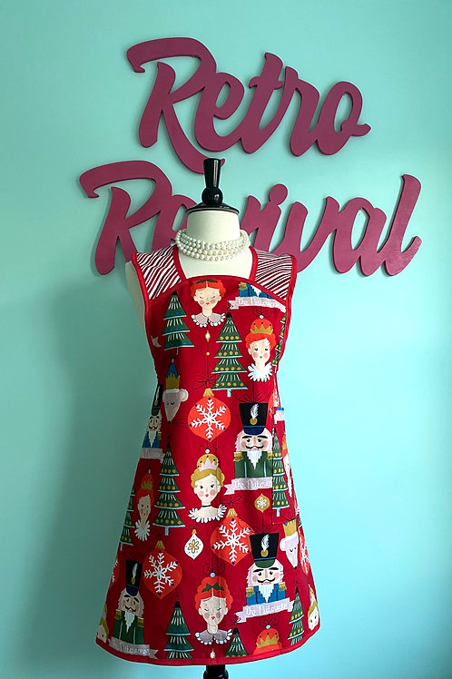 Nutcracker Suite Red A-Line Retro Christmas Apron