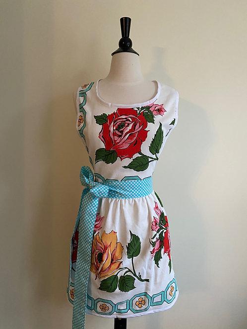 Big Bold Roses Vintage Tablecloth Apron
