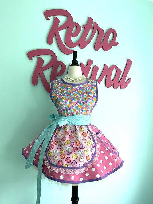 Conversation Hearts Circle Skirt Retro Apron