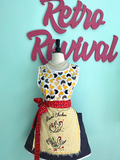 Vintage Chickens Embroidered Retro Apron