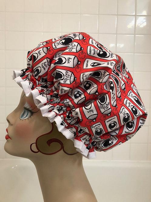 Women's Shower Cap Ruffled Red Hairspray