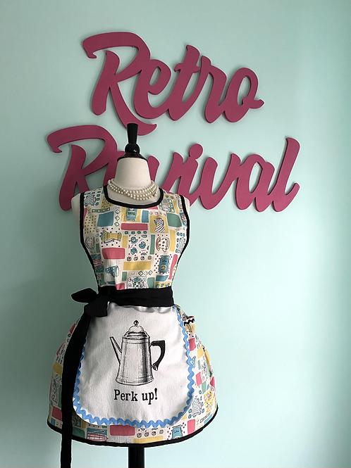 Perk Up Coffee Themed Retro Apron