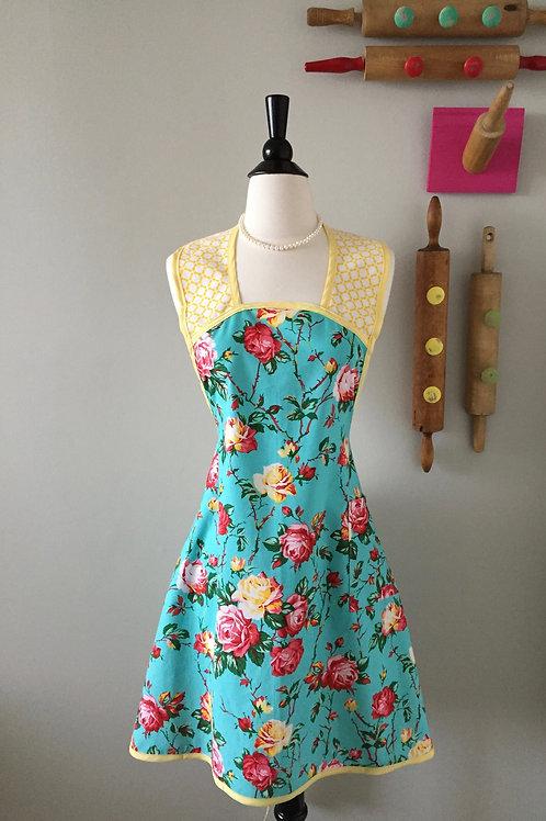 Retro Apron 1940's Style Wild Rose Apron