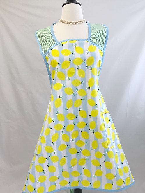 Lemons on Sky Blue Stripes 1940's A-Line Apron