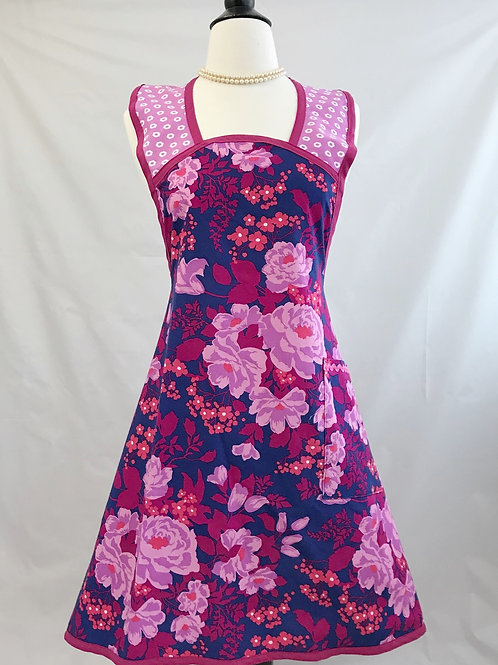 Floral on Navy 1940's A-Line Apron