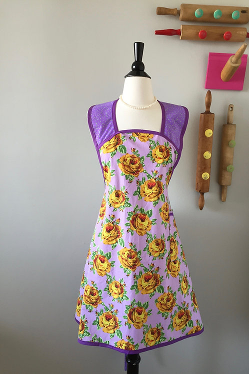 Retro Apron 1940's Style Gold Roses on Lavender