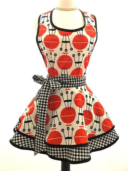 Retro BBQ Double Circle Skirt Retro Apron