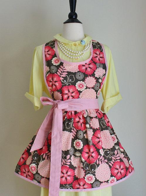 Retro Apron Pink Grey Floral Apron