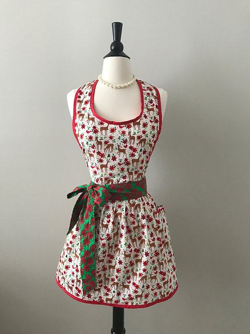 Retro Apron Mini Deer & Poinsettias Gathered Skirt