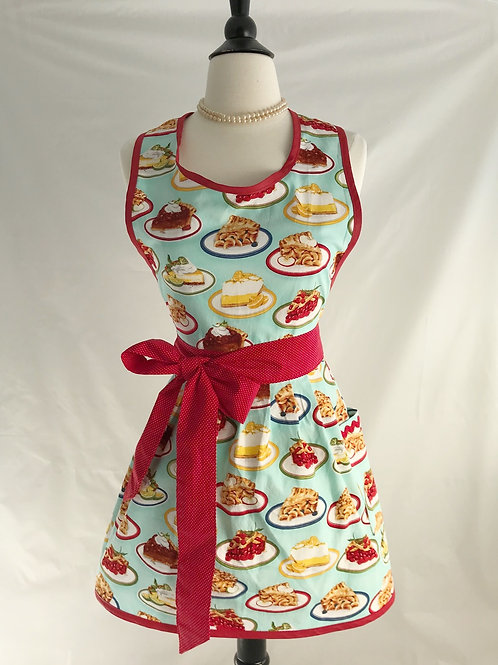 Retro Apron Pies On Aqua Apron