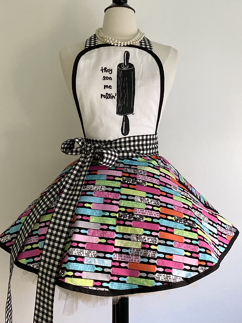 Roll With It Tea Towel Circle Skirt Retro Apron