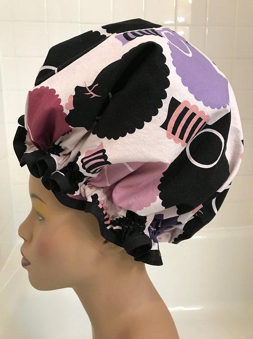Natural Hair Shower Cap Silhouette Plum