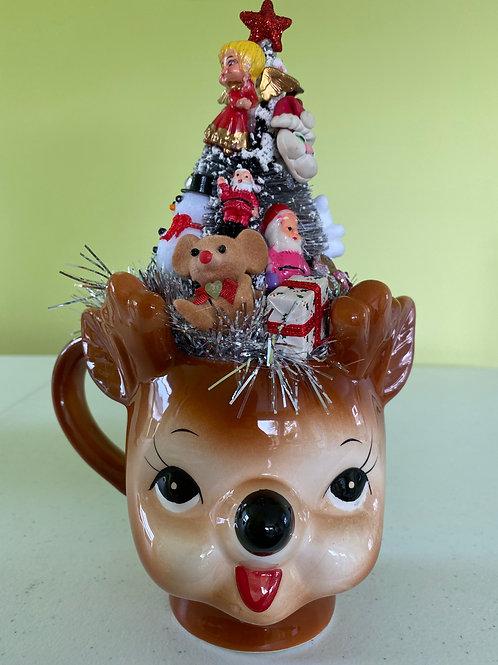 Vintage Christmas Decoration Centerpiece in Deer Mug