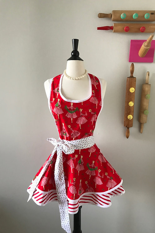 Retro Apron Christmas Hostess Circle Skirt Apron
