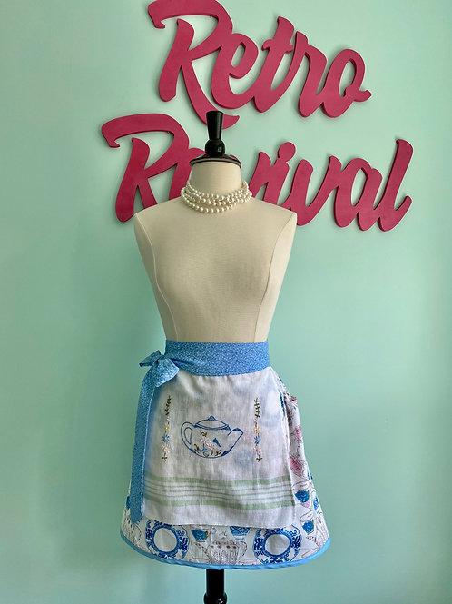 Vintage Tea Embroidered Retro Half Apron