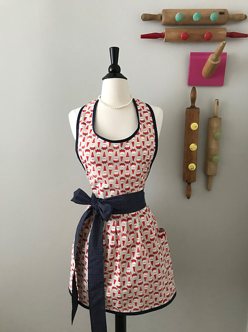 Retro Apron Santa with Navy Dots