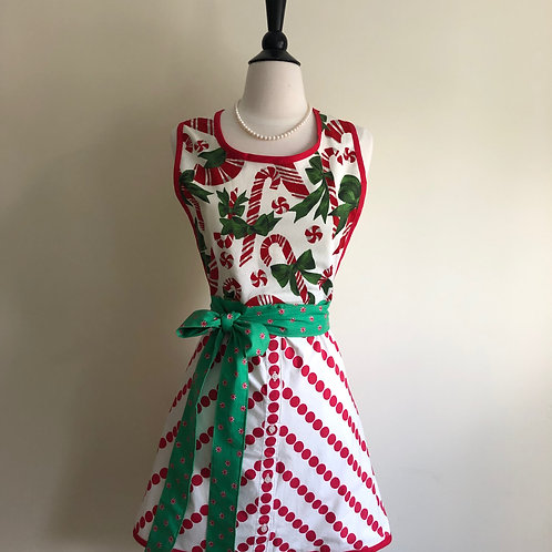 """Candy Canes & Dots"" Vintage Tablecloth Apron"