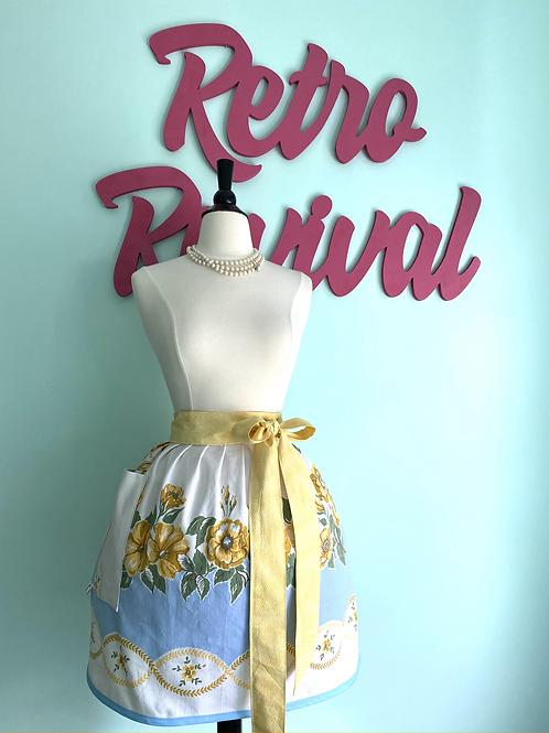 Vintage Gold/Blue Floral Waist/Half Apron