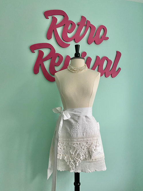 Vintage Bridal Embroidered Lace Retro Half Apron