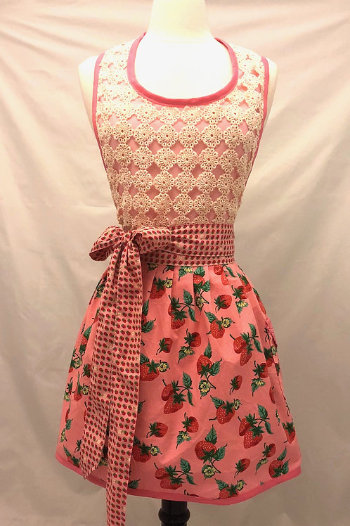 Vintage Crochet Strawberry Retro Apron