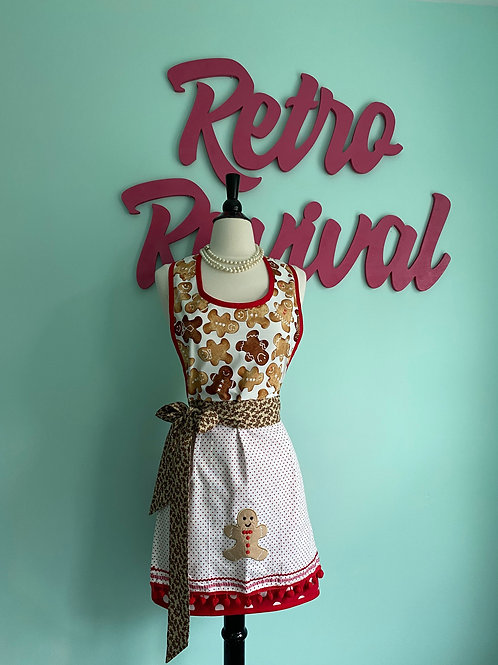 Gingerbread Embroidered Christmas Retro Apron