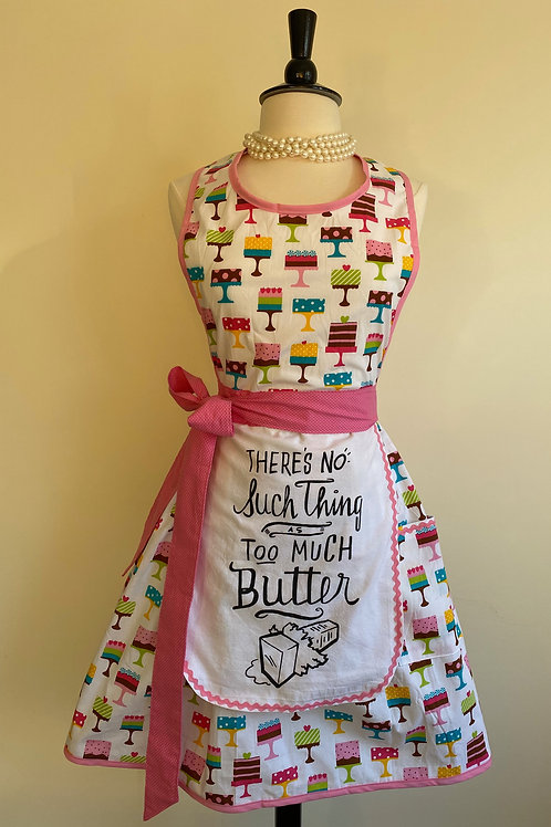 No Such Thing as Too Much Butter Dish Towel Retro Apron