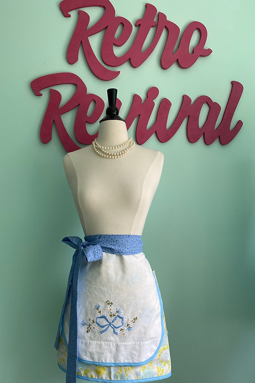 Vintage Bow Embroidered Retro Half Apron