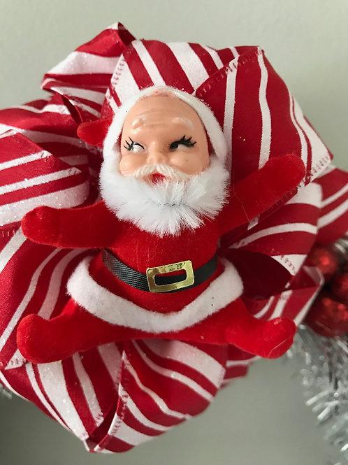 Tinsel Vintage Kitsch Christmas Santa Wreath #2