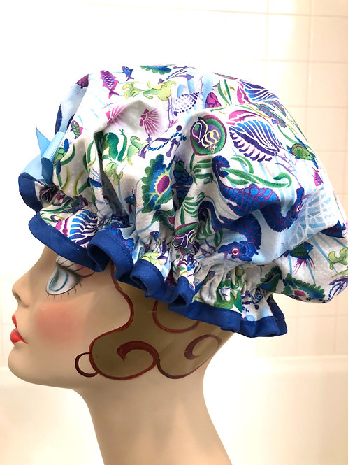 "Women's Shower Cap Ruffled ""Under the Sea"""