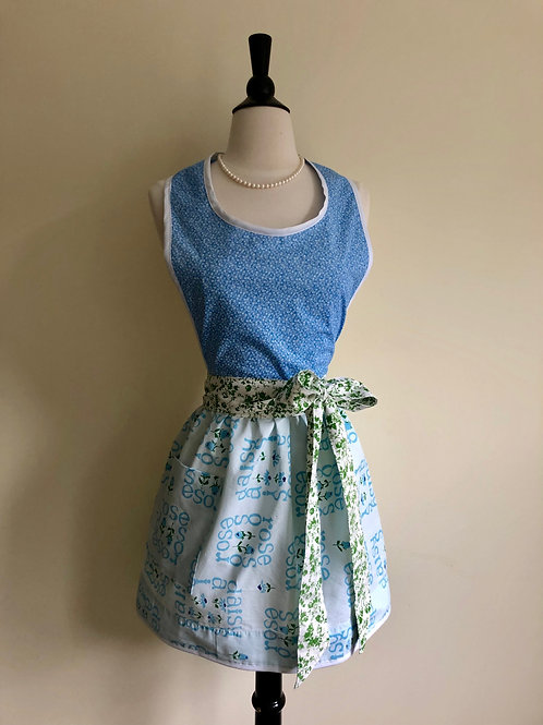 """Blue Rose Buds"" Vintage Pillowcase Apron"