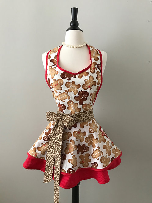 Retro Apron Gingerbread Men Circle Skirt Apron