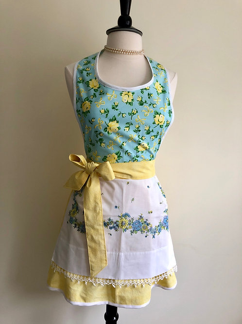 """Yellow Roses"" 1950s Pillowcase Apron"