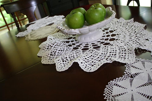 Vintage Doily Table Runner 72""