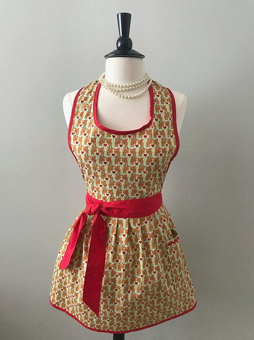 Retro Apron Mini Reindeer Love Gathered Skirt