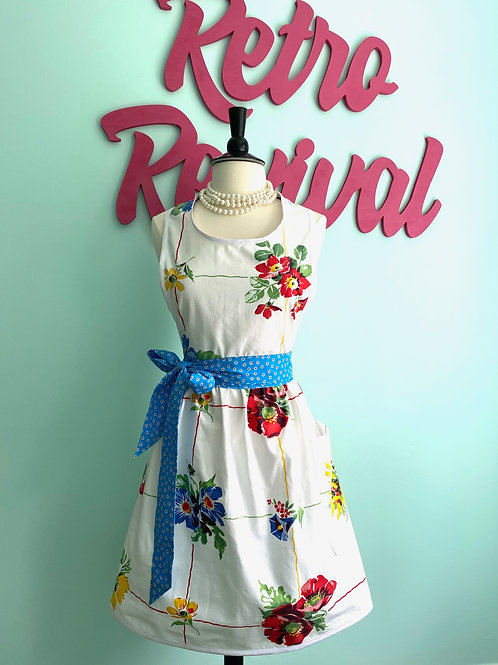 Floral Vintage Tablecloth Retro Apron