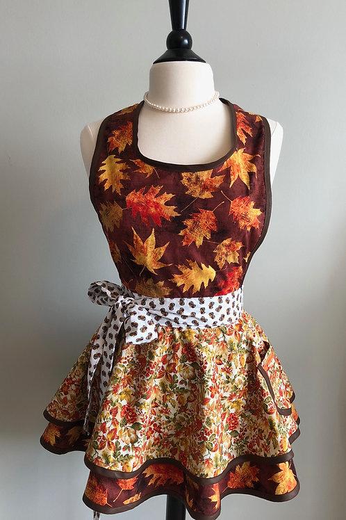 Falling Leaves Double Circle Skirt Retro Apron