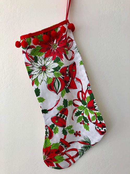 Christmas Bells Vintage Tablecloth Christmas Stocking