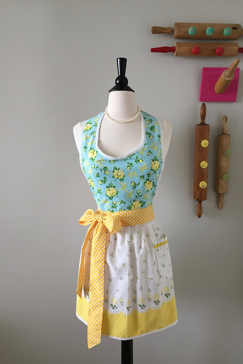 Yellow Roses Vintage Fabric Apron