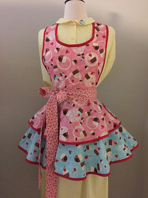 Retro Apron Tossed Cupcakes Swirl Skirt Apron