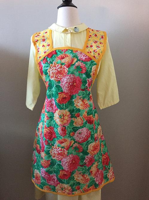 Retro Apron Summer Peonies 1940's Style Apron