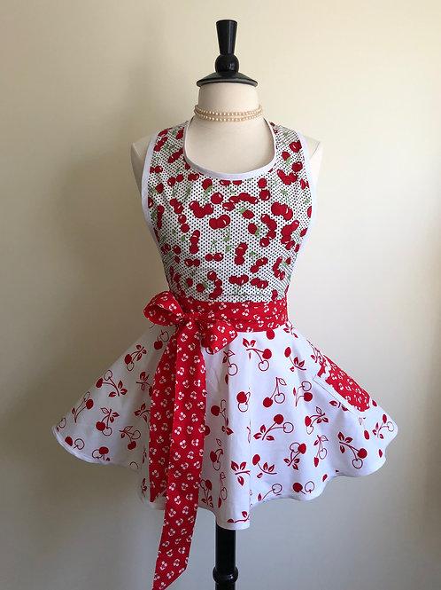 Cherries on White Circle Skirt Retro Apron