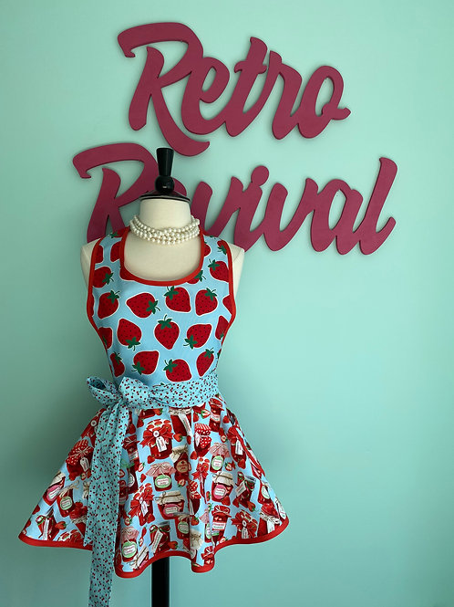 """Strawberry Jam #2"" Circle Skirt Retro Apron"