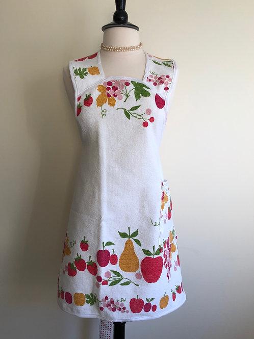 """Bountiful"" Vintage Terrycloth Tablecloth Apron"