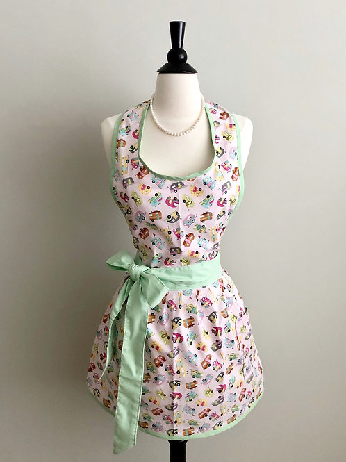 Mini Vintage Campers Mint Apron