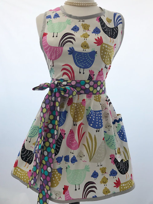 Colorful Chickens Retro Apron