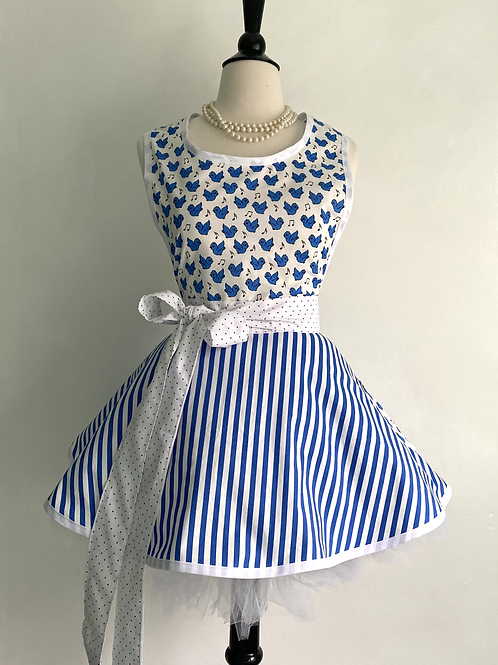 Singing Blue Birds Circle Skirt Retro Apron